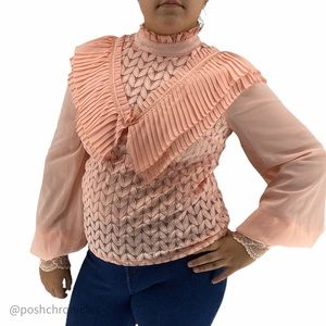 INA- Mock Neck Ruffle Trim Pointelle Lace Blus Top